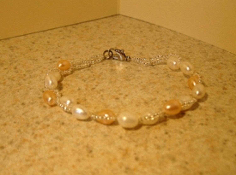 Genuine Pink & White Freshwater Pearl Bangle Bracelet New #868