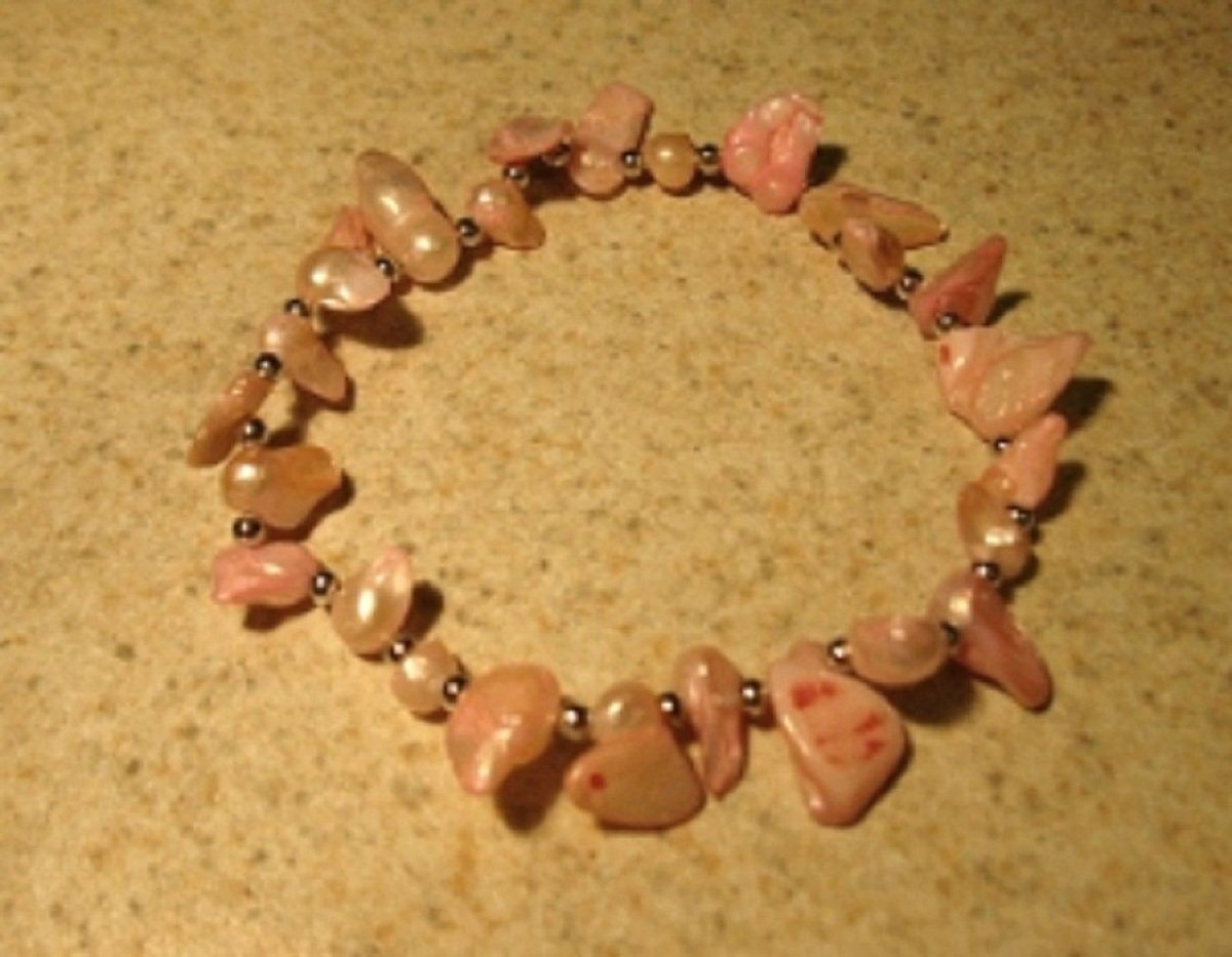 Genuine Pink Freshwater Pearl Bangle Bracelet New #322