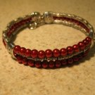 Tibetan Silver Red Pearl Cuff Bangle Bracelet New #