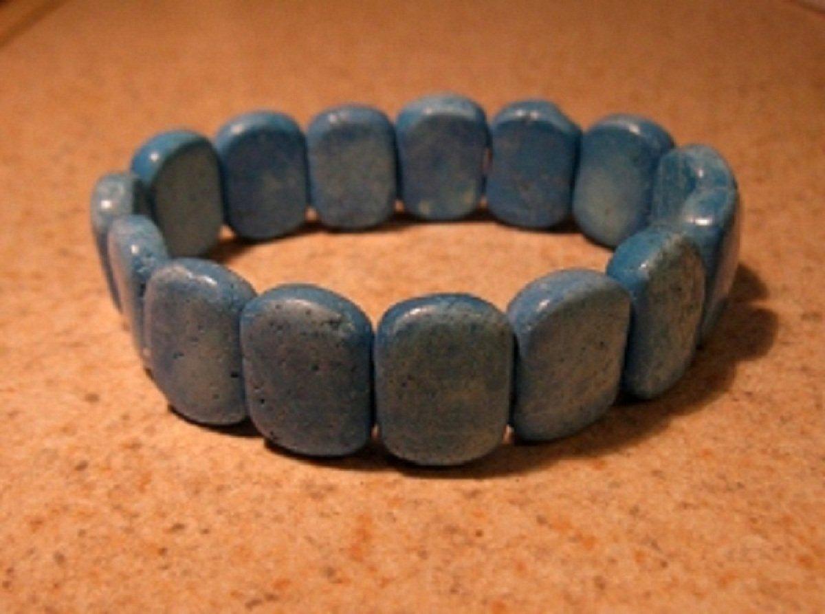 Genuine Blue Turquoise Gemstone Bangle Bracelet New #386