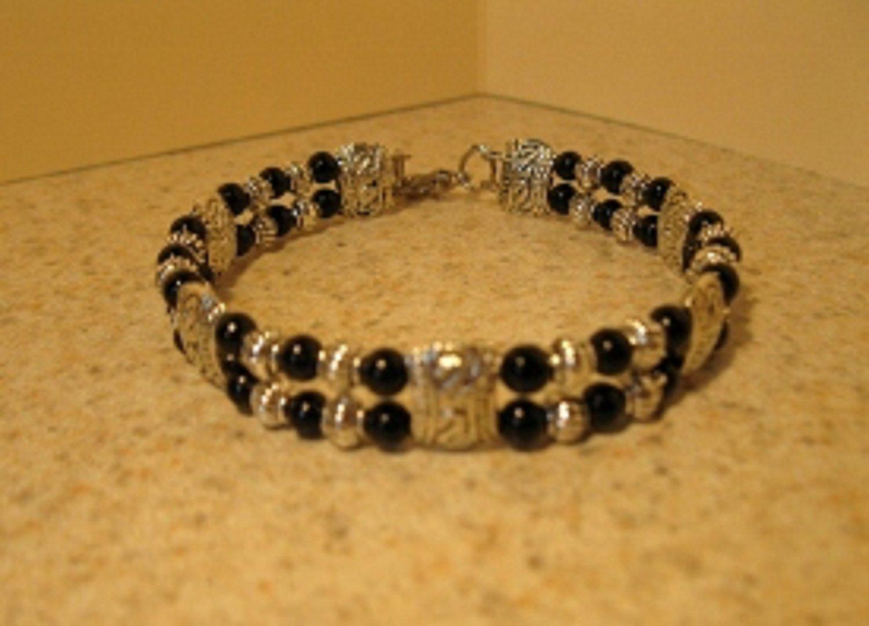 Tibetan Silver Black Jade Cuff Bangle Bracelet New #899