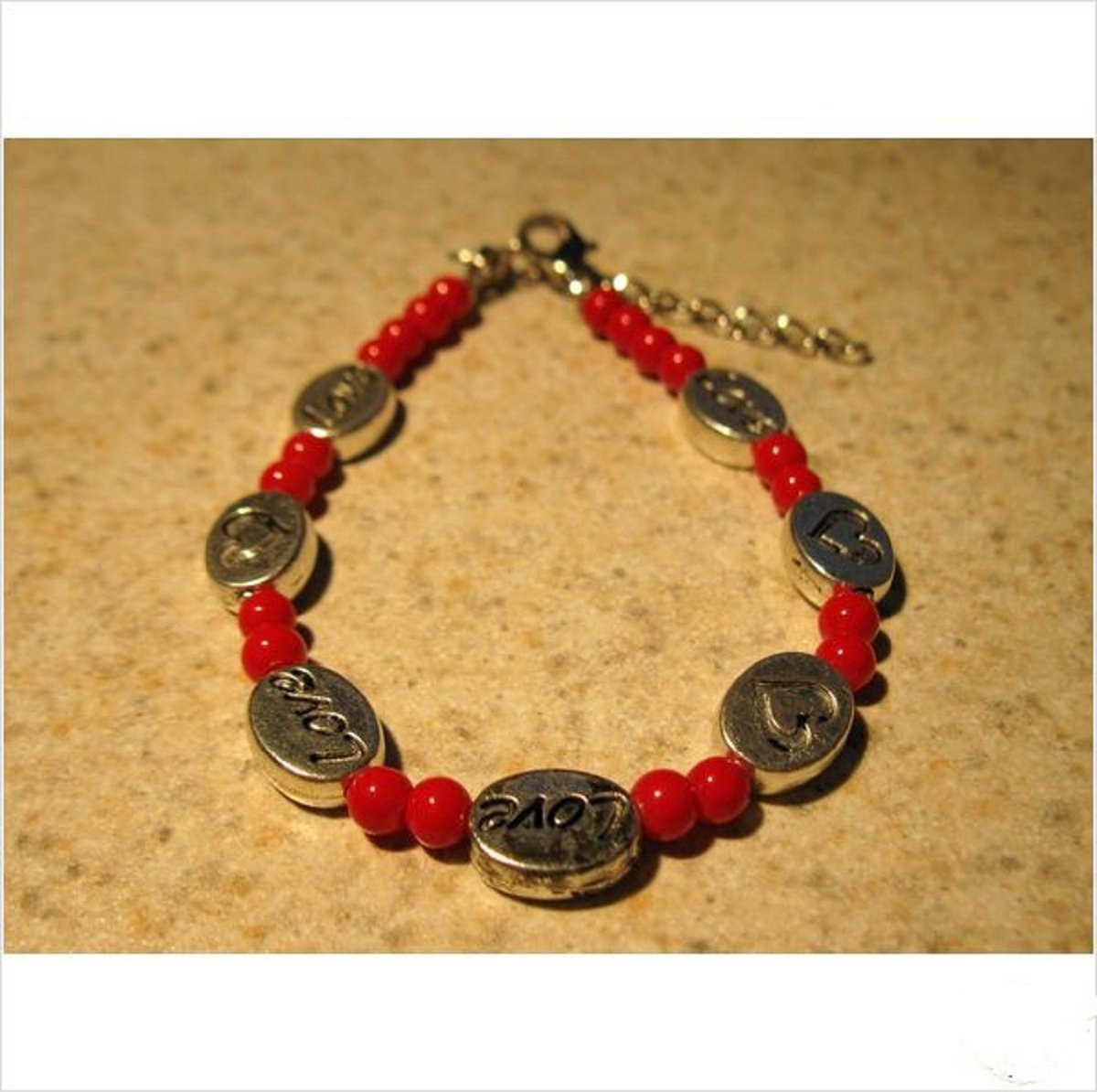 Bracelet Red Coral and Silver Love Beads #593