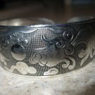 Bracelet Silver Plated Intricate Koi and Pheasant Carvings Cuff Bangle New #863