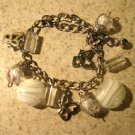 White Murano Bead Charm Bangle Bracelet New #573