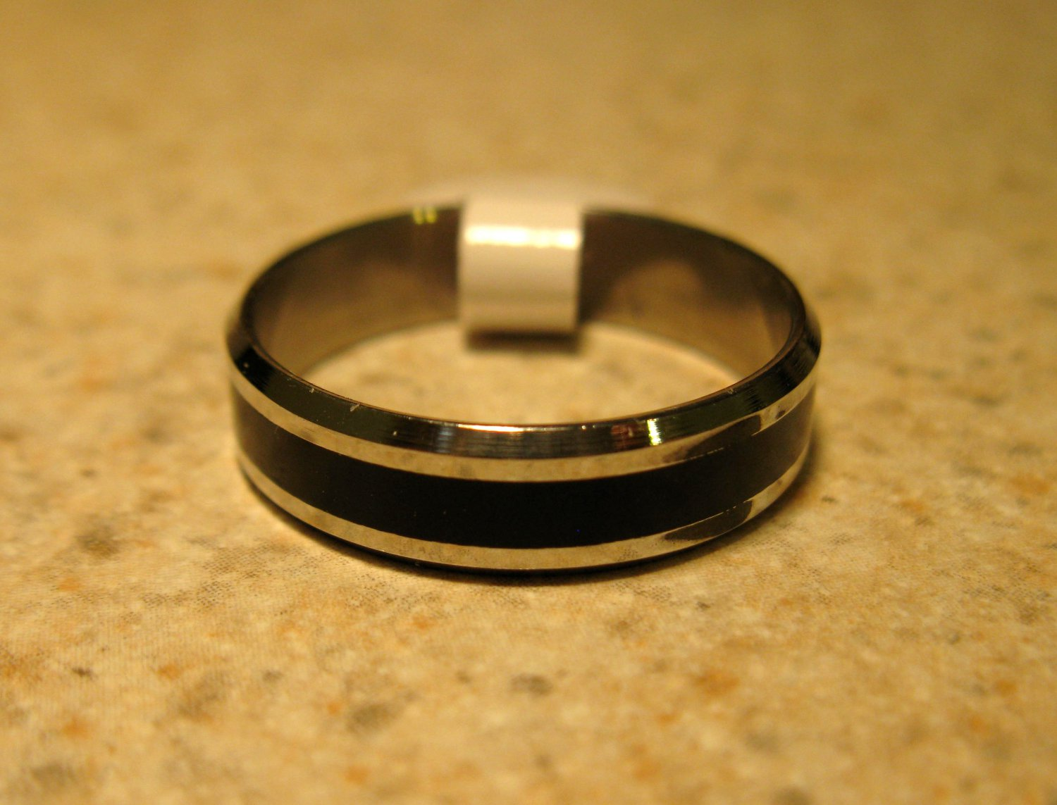 Silver with Black Wedding Band Rings Unisex Sizes 10 New #804
