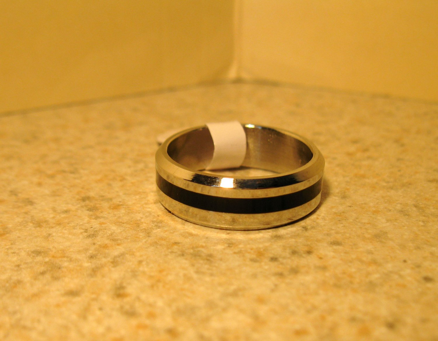 Silver with Black Wedding Band Rings Unisex Sizes 9 New #140