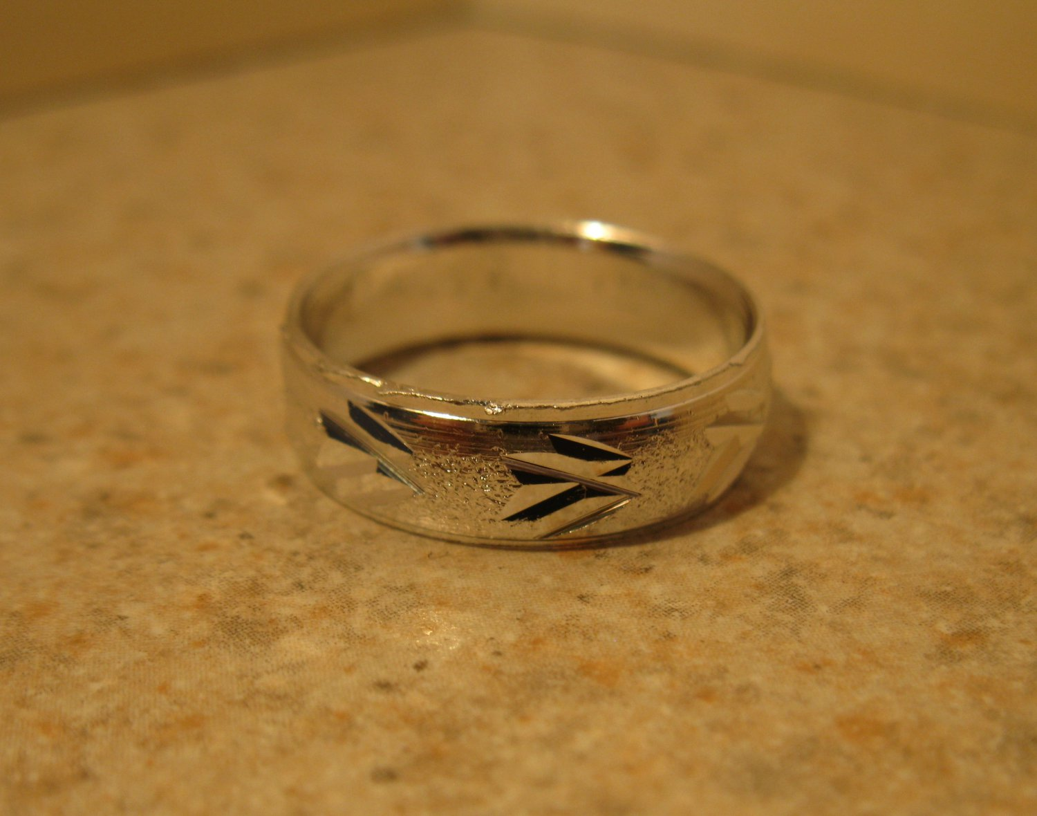Silver Plated Double Arrow Knotch Design Aluminum Ring Unisex Size 7.5 New! #977