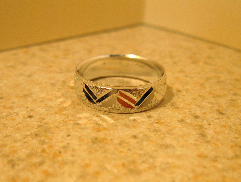 Silver Plated Zig Zag Notch Design Aluminum Ring Unisex Size 8 New! #980