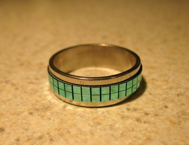 Ring Men Women Silver Plated Aqua Mirrored Band Unisex Size 11.5 NEW! #384