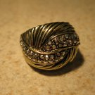 Gold CZ Swirl Design Ring Unisex Size 10 HOT! #383