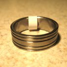 Silver Black Etched Band Ring Unisex Size 11 HOT! #610