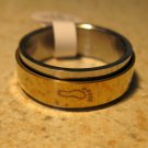 Silver & Gold Foot Print Ring Unisex Size 11 HOT! #651