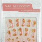 Nail Art Gold Swirl With Flower Manicure Decal Stickers #628