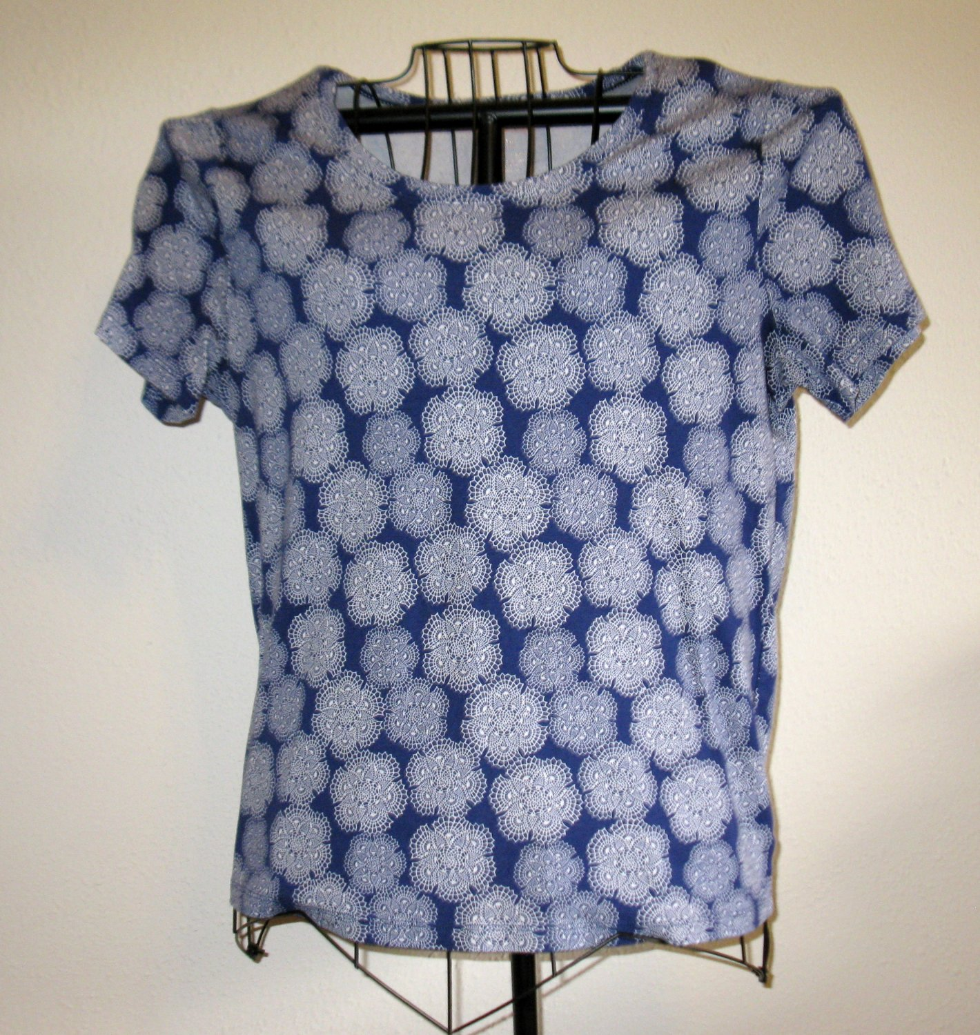 Navy Blue & White Design Top Shirt Blouse by White Stag Size XL (16-18) #D274