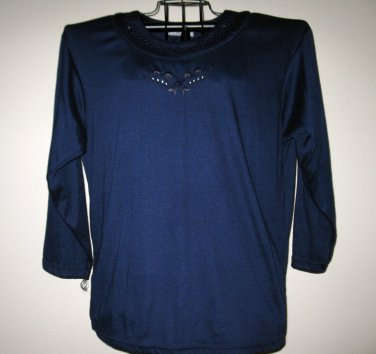 Blue Neckline Embroidery Embellished Top by Artisans Womans Size XXL NICE! #D300