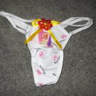 White with Beautiful Eyes Logo Thong Panties Underwear Size Small NEW & SEXY #65