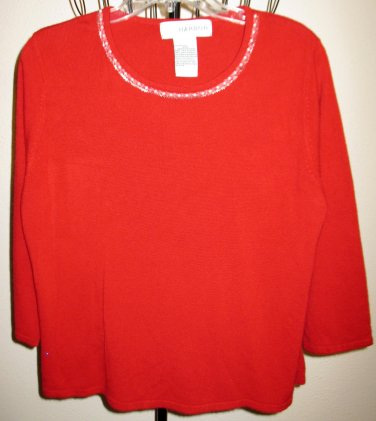 Red Sweater Pearl Embellished Neckline by Sag Harbor Size XL Nice! #D377