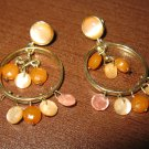 Pink MOP & Crystal Hoop Earrings 1.75 in New! #K25