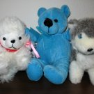 Lot of 3 Adorable Stuffed Animals: Bear, French Poodle & Squirrel Nice! #X91
