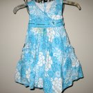 Aqua Blue & White Floral Dress by Savannah Child Size 4 Nice! #X61