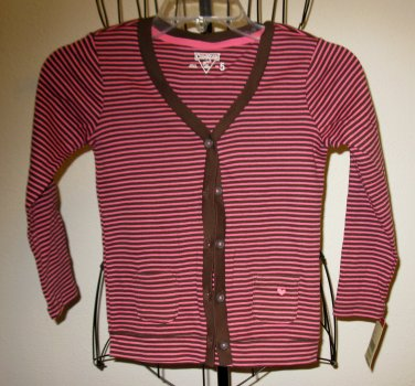 Beautiful Pink & Brown Striped Top by Oshkosh Child Size 5 New! #X53