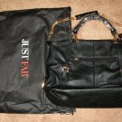 Beautiful Black Faux Leather Bag Purse by Just Fabulous & Dust Bag New! #x155