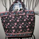 Black with Pink Floral Design Quilted Makeup Cosmetic Tote Bag Nice! #D371