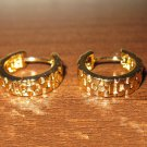 Elegant Gold Basket Weave Hoop Pierced Earrings Beautiful & New #D435