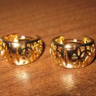 Lovely Gold Filigree Hoop Pierced Earrings Beautiful & New #D437