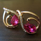 Classy & Chic Pink Topaz with CZ Pierced Earrings Beautiful & New #D439