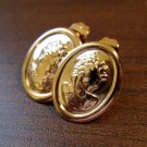 Lovely Gold Cameo Lady Pierced Stud Earrings Beautiful & New #D443