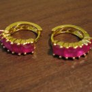 Elegant Gold Ruby Hoop Pierced Earrings Beautiful & New #D444