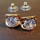 Dazzling Rose Gold Diamond Stud Pierced Earrings Beautiful & New #D445