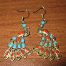 Colorful Hand Painted Red & Blue Peacock Pierced Earrings Beautiful & New #D446