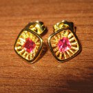 Sizzling Red Ruby Starburst Stud Pierced Earrings Beautiful & New #D450