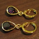 Stunning Red Garnet & White Topaz Teardrop Pierced Earrings New #D254