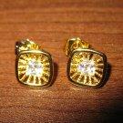 Sizzling Diamond Starburst Stud Pierced Earrings Beautiful & New #D460