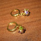 Chic Multi Colored Sapphire & Peridot Disco Ball Pierced Earrings New #462