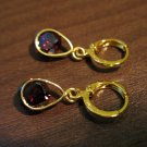 Stunning Red Garnet Dangle Pierced Earrings New #D465