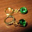 Rich Green Emerald Teardrop Pierced Earrings New #D467