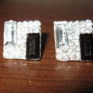 Classy Black Onyx & CZ Square Stud Pierced Earrings Beautiful & New #D468