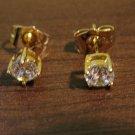 Small Lovely Round Diamond Stud Pierced Earrings Beautiful & New #D472