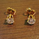 Small Brilliant Round Diamond Stud Pierced Earrings Beautiful & New #D473