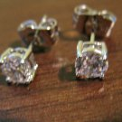 Stunning Silver Round Diamond Stud Pierced Earrings Beautiful & New #D474