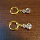 Sparkling Double Diamond Dangle Pierced Earrings Beautiful & New #D475