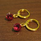Rich Round Red Ruby Dangle Pierced Earrings Beautiful & New #D477