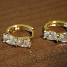 Sparkling Double Oval Diamond Hoop Pierced Earrings Beautiful & New #D481