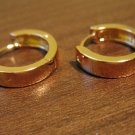 Lovely Polished Gold Hoop Pierced Earrings Beautiful & New #D484