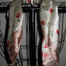 Beautiful Pink & Ivory Floral Neck Scarf New! #D538