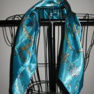 Beautiful Teal & Silver Figured Scarf Neck Scarf New! #D550